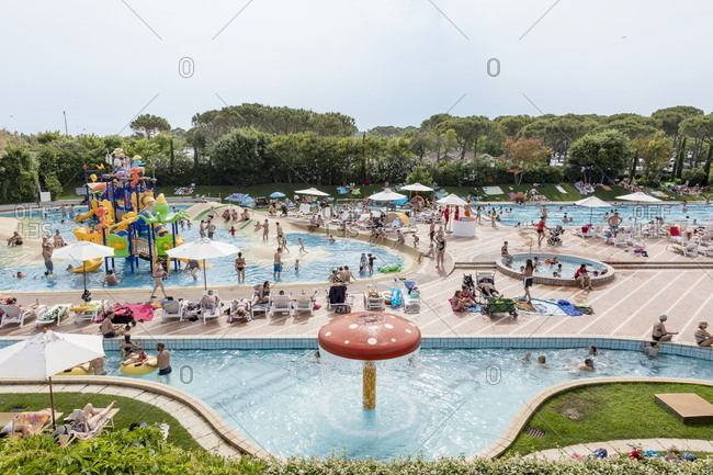 Venice, Italy - May 30, 2018: Swimming pools at Union Lido luxury resort in Punta Sabbioni