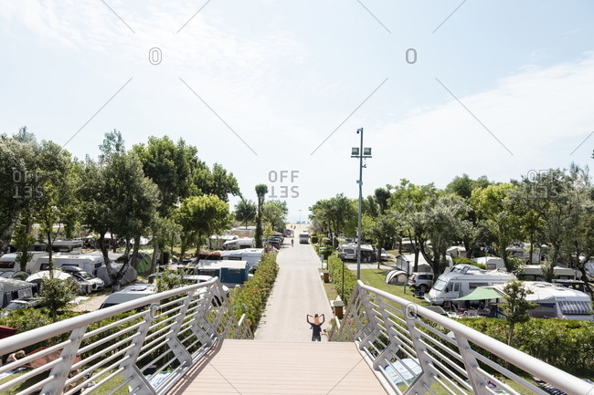 Venice, Italy - May 31, 2018: Walkway through Marina di Venezia campground in Punta Sabbioni