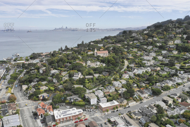 Aerial view of a neighborhood in Sausalito, California