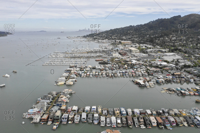 Aerial view of boats in Richardson Bay in Sausalito, California