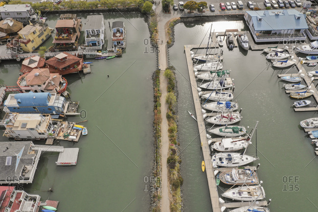 September 12, 2018: Aerial view of boats in Richardson Bay in Sausalito, California