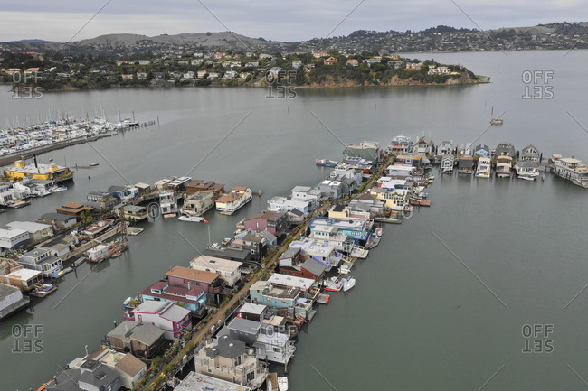 Aerial view of floating homes in Richardson Bay in Sausalito, California
