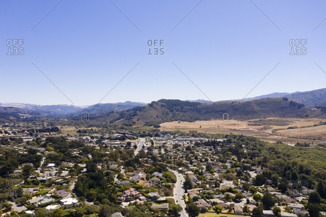 Aerial view of Carmel California with mountains in the background