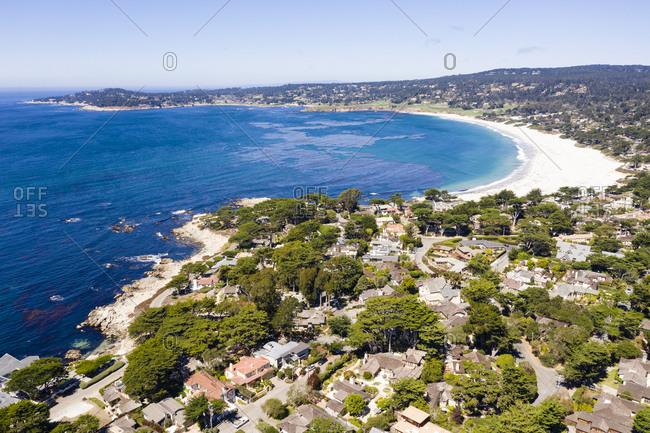 Aerial view of residential beach in Carmel California