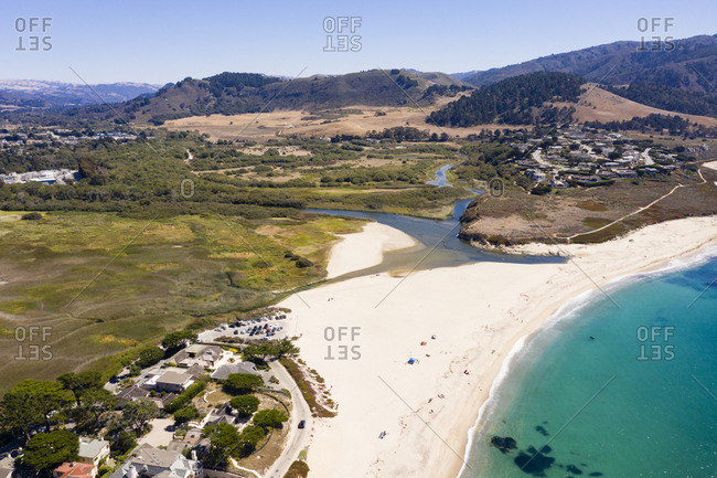 Aerial view of beautiful beach in Carmel California