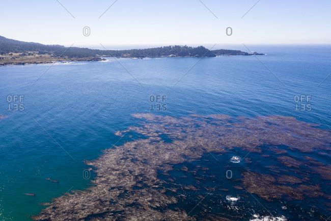Aerial view of ocean in Carmel California