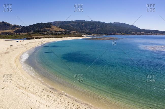 Aerial view of beautiful beach in Carmel California