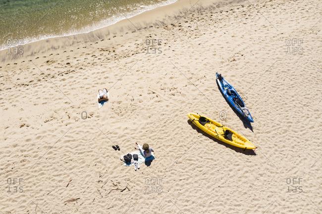 September 16, 2018: Aerial view of beach in Carmel California