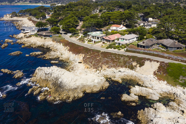 Aerial view of rocky beach in Carmel California