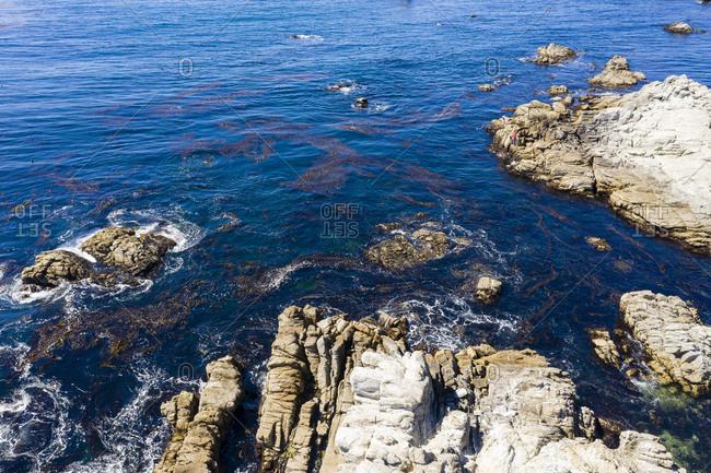 Aerial view of rocky beach in Carmel California