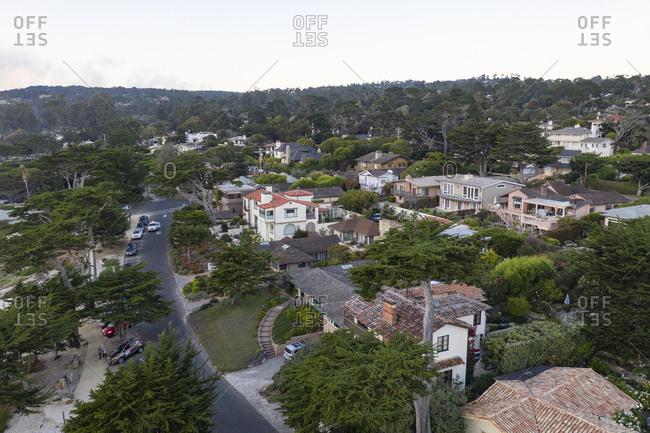 Aerial view neighborhood in Carmel California