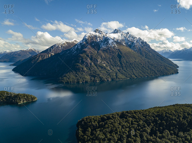 Aerial view of mountains in Escondido Lake in Argentina