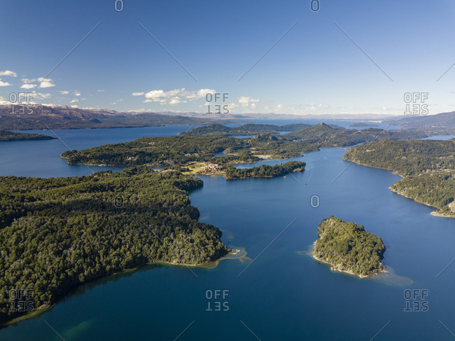 Aerial view of river and mountains in Bariloche Argentina