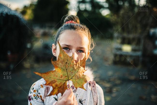 Portrait of a tween girl holding an autumn leaf