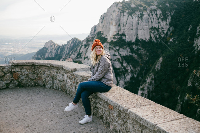 Woman at the top of Montserrat mountains, Barcelona Spain