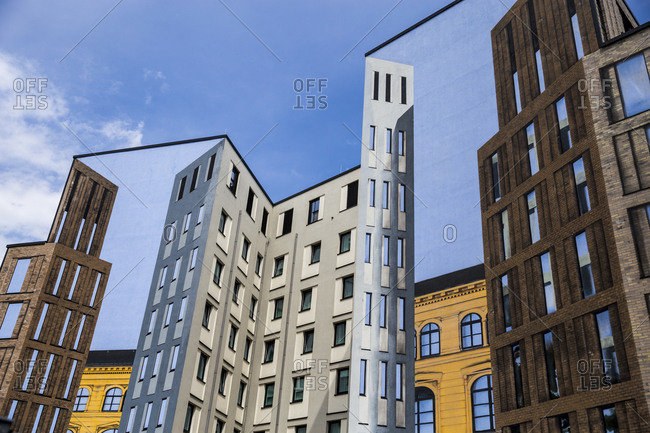 A fake building facade in the center of Berlin, Germany.