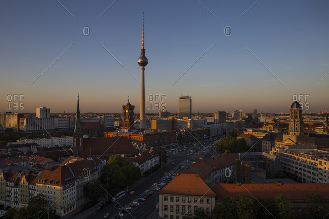 September 18, 2018: View at dusk from the Fischerinsel towards Alexanderplatz in Berlin, Germany.