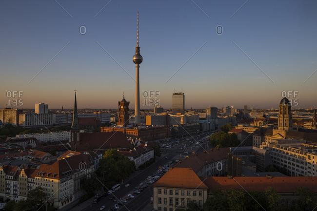September 18, 2018: View at dusk from the Fischerinsel towards Alexanderplatz in Berlin, Germany.