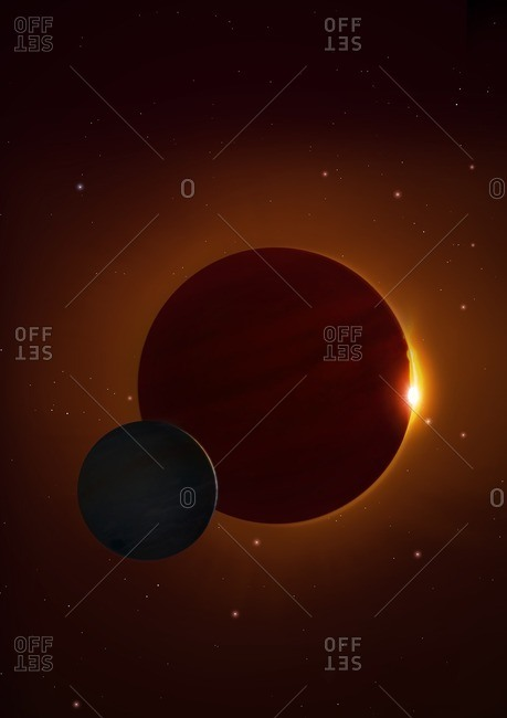 Illustration of the planet Kepler 1625b and its proposed exomoon. Kepler 1625 is a Sun-like star some 4,000 light-years distant in Cygnus. It is about 80 percent of the radius of the Sun but about 8 percent more massive. The star has at least one known planet. Called Kepler 1625b, it is a large gas giant, up to 12 times the diameter of Jupiter and orbiting within the star's habitable zone. In 2018, astronomers reported that the planet might be orbited by a satellite - an exomoon - although this remains to be confirmed. The suspected moon is Neptunian in size, orbiting its planet at a distance of 20 times the planet's radius.