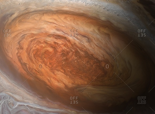 Illustration of Jupiter's Great Red Spot. This is a vast, cyclonic storm, wider than the entire Earth, that has raged for centuries.