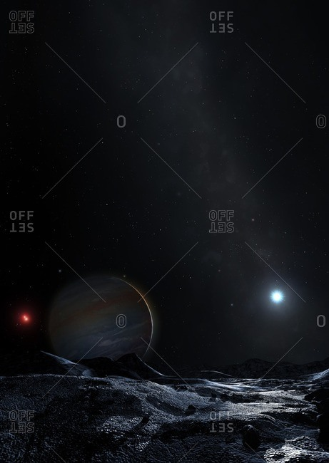Illustration of the triple star system HD 131399, as seen from a planet. The system consists of a close binary pair of low-mass, red stars, separated by about 10 astronomical units (AU), which is in turn in orbit around a more massive, white main-sequence star at a distance of several hundred AU. Astronomers thought they detected a planet around the more massive star, HD 131399 A. However, the so-called planet, dubbed HD 131399 Ab or Scorpion-1b, is now thought to be a background star. This image imagines the supposed planet viewed from a nearby moon.