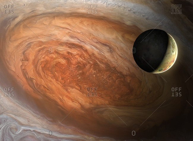 Illustration of the Jovian moon Io, seen against the backdrop of Jupiter's Great Red Spot. The latter is a vast, cyclonic storm - wider than the entire Earth - that has raged for centuries. Io, a highly volcanic world, is the innermost Galilean moon of Jupiter.