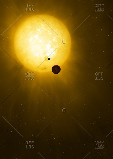Illustration of the planet Kepler 1625b and its proposed exomoon, transiting their star. Kepler 1625 is a Sun-like star some 4,000 light-years distant in Cygnus. It is about 80 percent of the radius of the Sun but about 8 percent more massive. The star has at least one known planet. Called Kepler 1625b, it is a large gas giant, up to 12 times the diameter of Jupiter and orbiting within the star's habitable zone. In 2018, astronomers reported that the planet might be orbited by a satellite - an exomoon - although this remains to be confirmed. The suspected moon is Neptunian in size, orbiting its planet at a distance of 20 times the planet's radius.