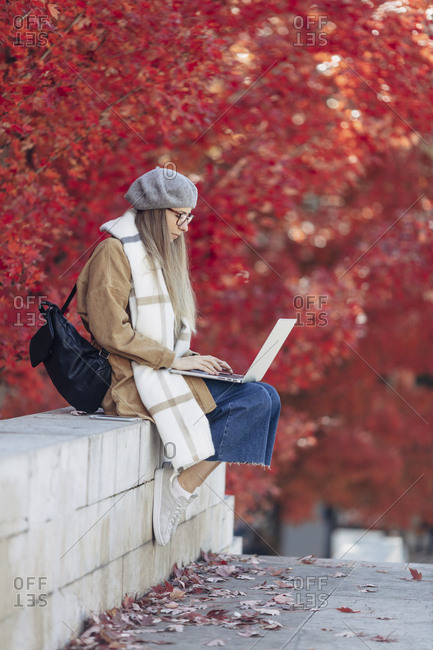 Blonde woman sitting in a park using laptop