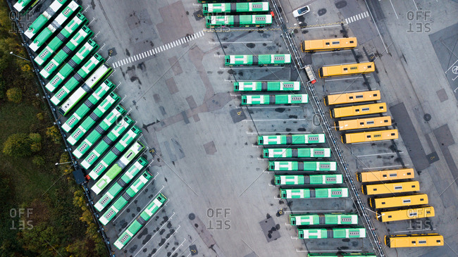 Aerial view of busses in a parking lot