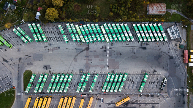 Elevated view of busses in a parking lot