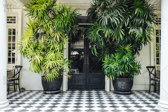 Plant pots by the hotel doors.