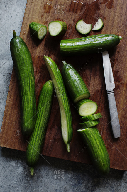 Cucumbers on cutting board