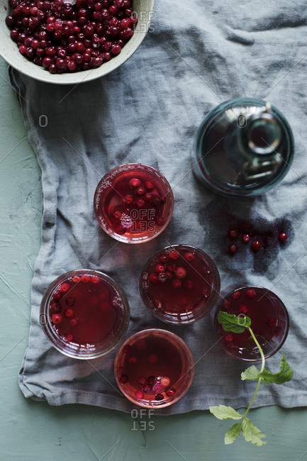 Lingonberry drink with a taste of mint