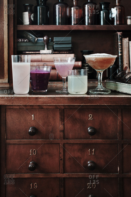 Lavender cocktail, Blackcurrant martini with cardamom, Appletini with juniper, Coriander and anise cocktail, Earl grey tea cocktail
