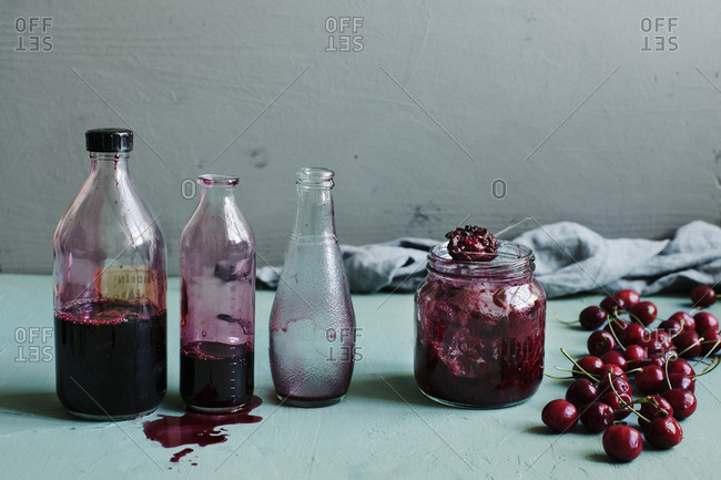 Cherry cordial and cherry jam