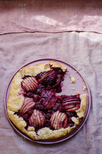 Nectarine and raspberry galette pie with cardamom
