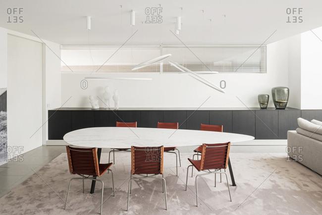 Wingene, Belgium - August 24, 2017: Dining area in modern open-concept home