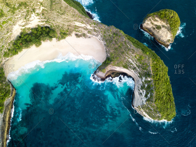 Aerial views of Kelingking beach cliffs. Nusa Penida Island, Bali, Indonesia