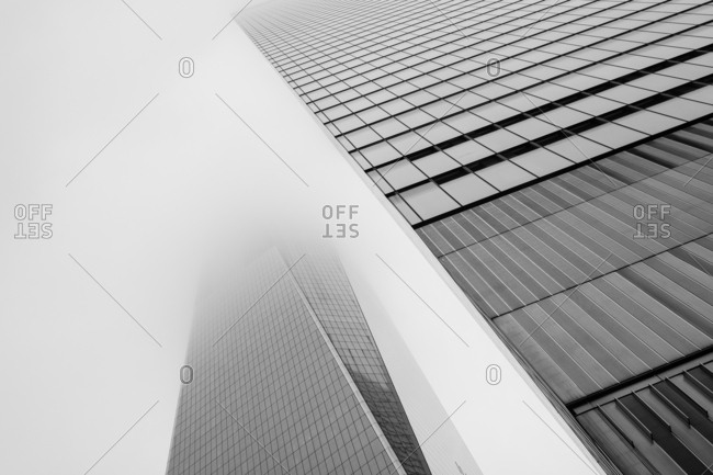 New York City - USA - Oct 8 2018: Architecture close-up of  World Trade Center during foggy morning in Lower Manhattan New York United States