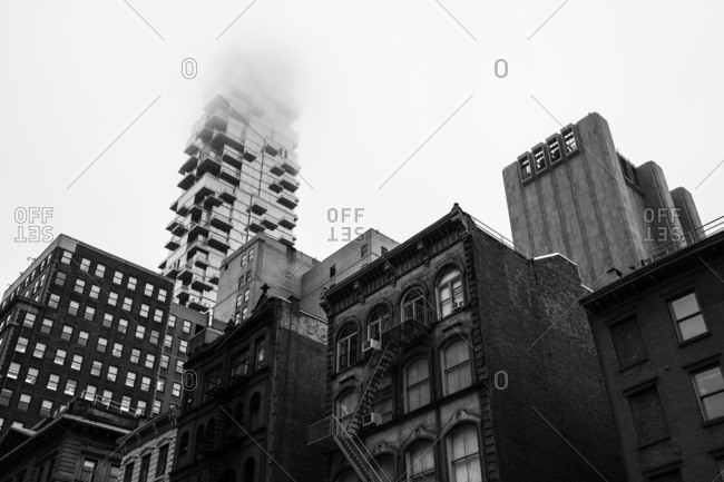New York City - USA - Oct 8 2018: Architecture close-up of TriBeCa during foggy morning in Lower Manhattan New York United States