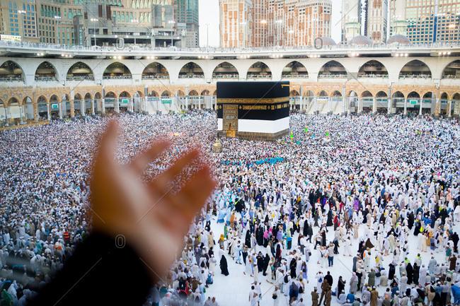 Mecca, Saudi Arabia - August 16, 2018: Muslim people are praying in Hajj