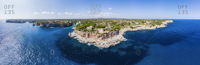 Spain- Balearic Islands- Mallorca- Aerial view of bay Cala Santanyi and Roca Fesa