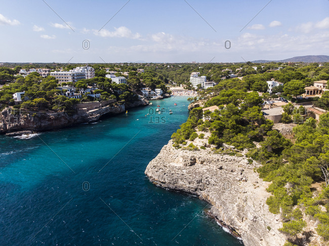 Spain- Balearic Islands- Mallorca- Aerial view of bay Cala Santanyi- beach and Roca Fesa