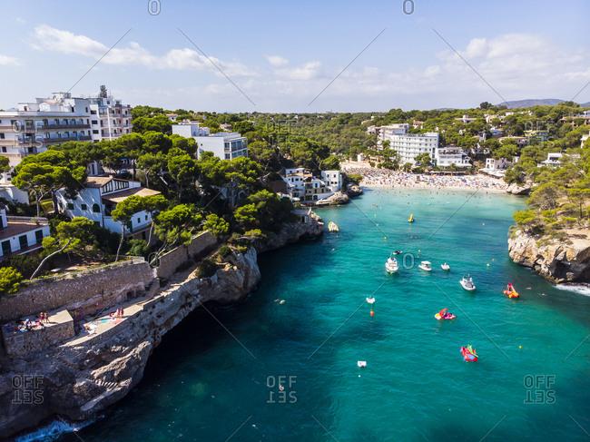 Spain- Balearic Islands- Mallorca- Aerial view of bay Cala Santanyi- beach