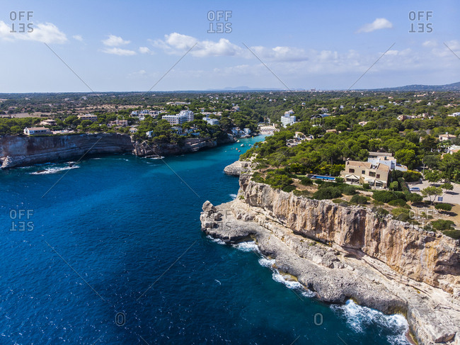 Spain- Balearic Islands- Mallorca- Aerial view of bay Cala Santanyi