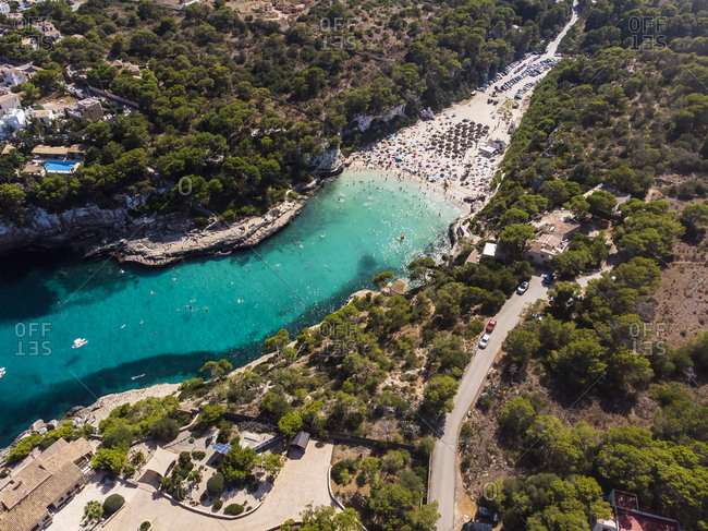 Spain- Balearic Islands- Mallorca- Aerial view of Cala Llombards