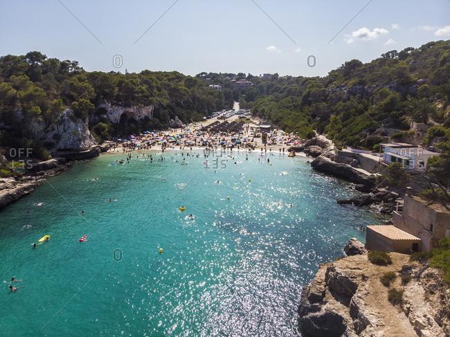 Spain- Balearic Islands- Mallorca- Aerial view of Cala Llombards- beach