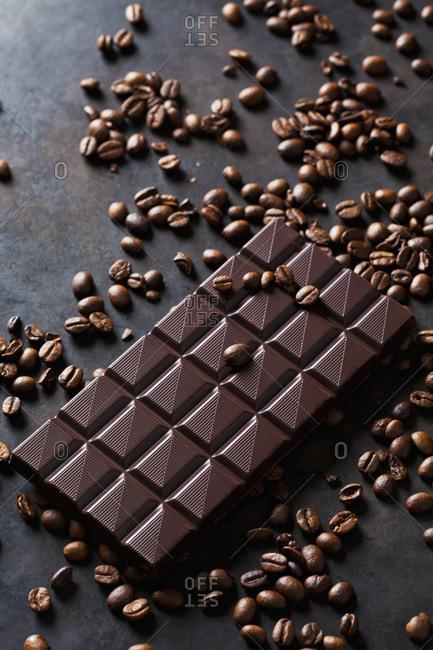 Freshly roasted coffee beans and dark chocolate