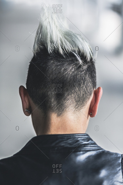 Rear view of punk woman with mohawk haircut