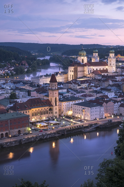 Germany- Bavaria- Passau- city view in the evening
